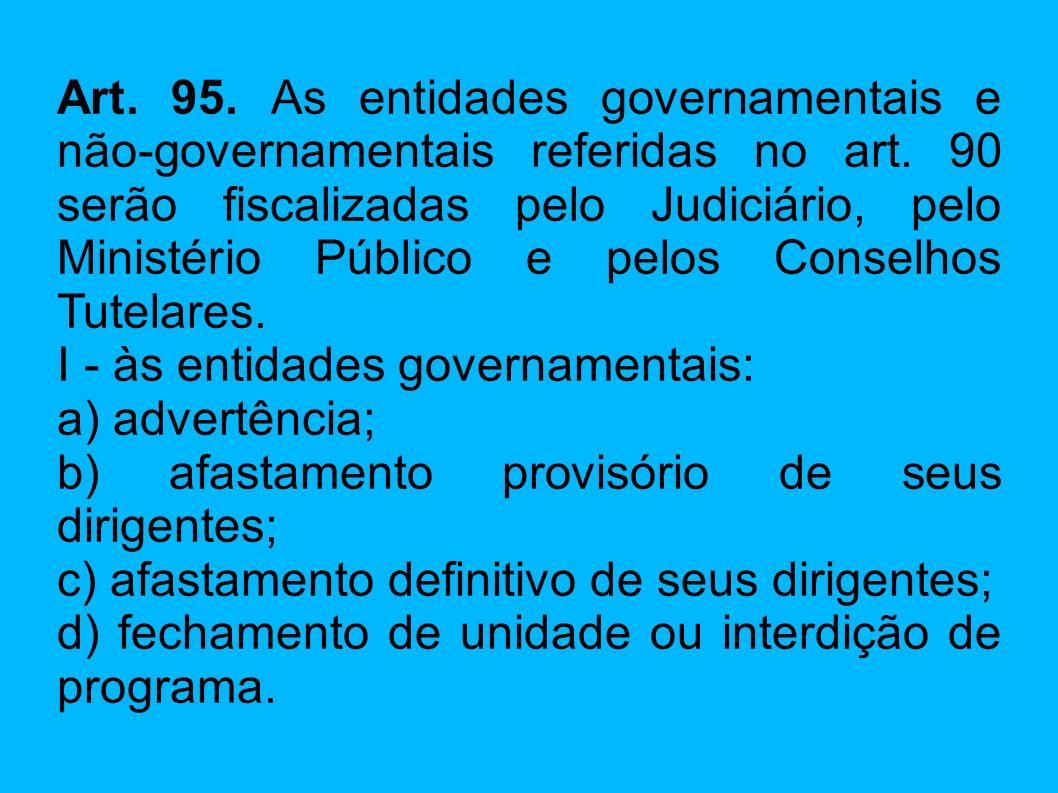 Art. 95. As entidades governamentais e não-governamentais referidas no art. 90 serão fiscalizadas pelo Judiciário, pelo Ministério Público e pelos Con