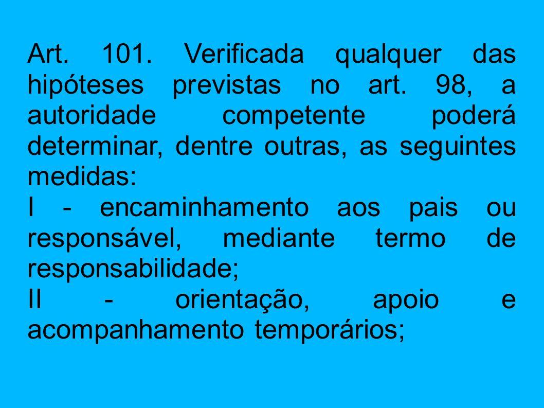 Art. 101. Verificada qualquer das hipóteses previstas no art. 98, a autoridade competente poderá determinar, dentre outras, as seguintes medidas: I -