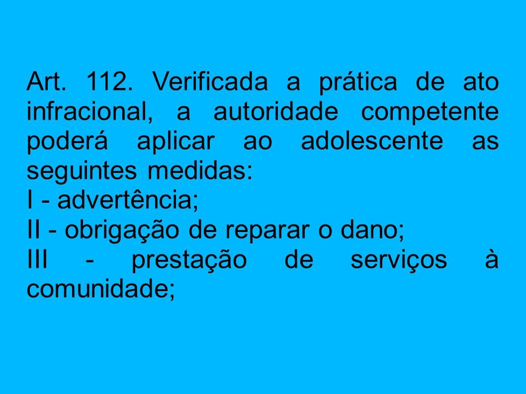 Art. 112. Verificada a prática de ato infracional, a autoridade competente poderá aplicar ao adolescente as seguintes medidas: I - advertência; II - o