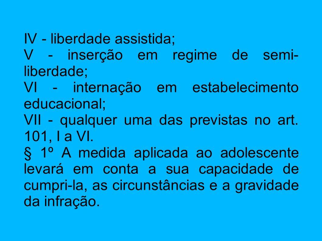 IV - liberdade assistida; V - inserção em regime de semi- liberdade; VI - internação em estabelecimento educacional; VII - qualquer uma das previstas