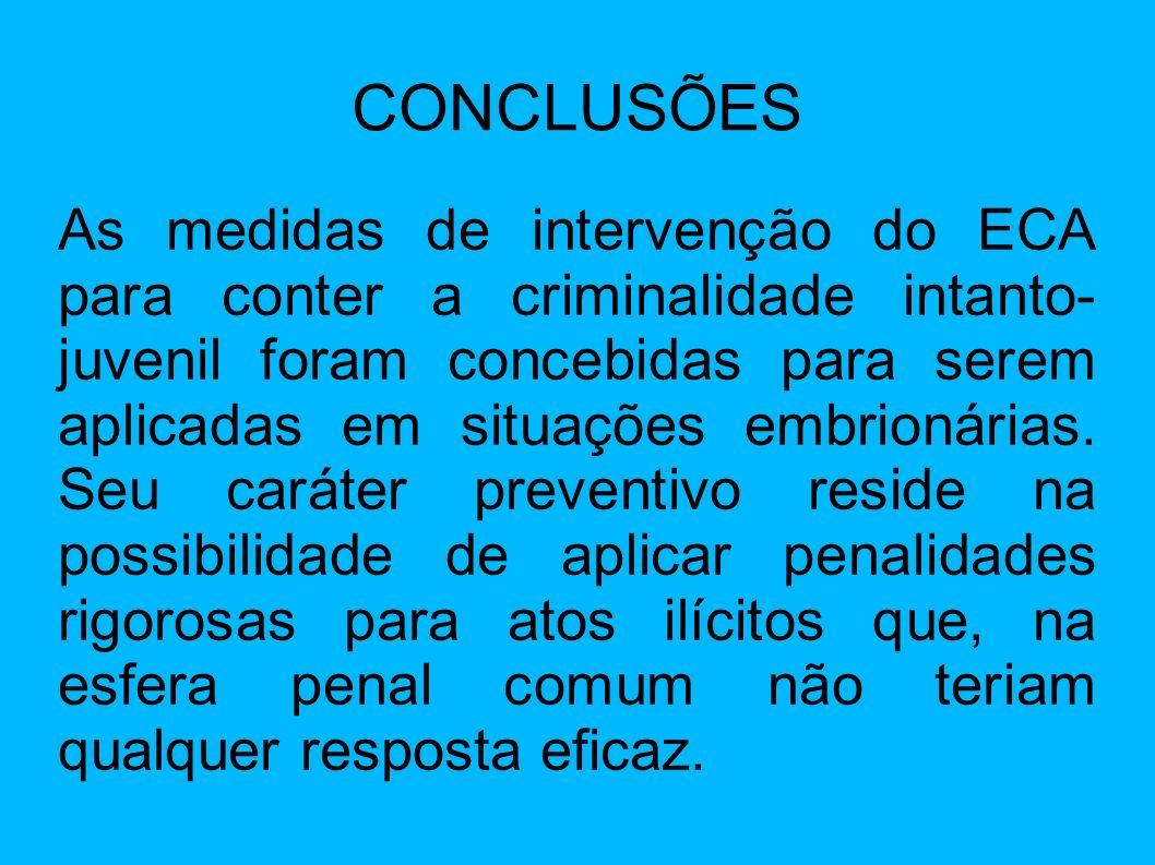 CONCLUSÕES As medidas de intervenção do ECA para conter a criminalidade intanto- juvenil foram concebidas para serem aplicadas em situações embrionári