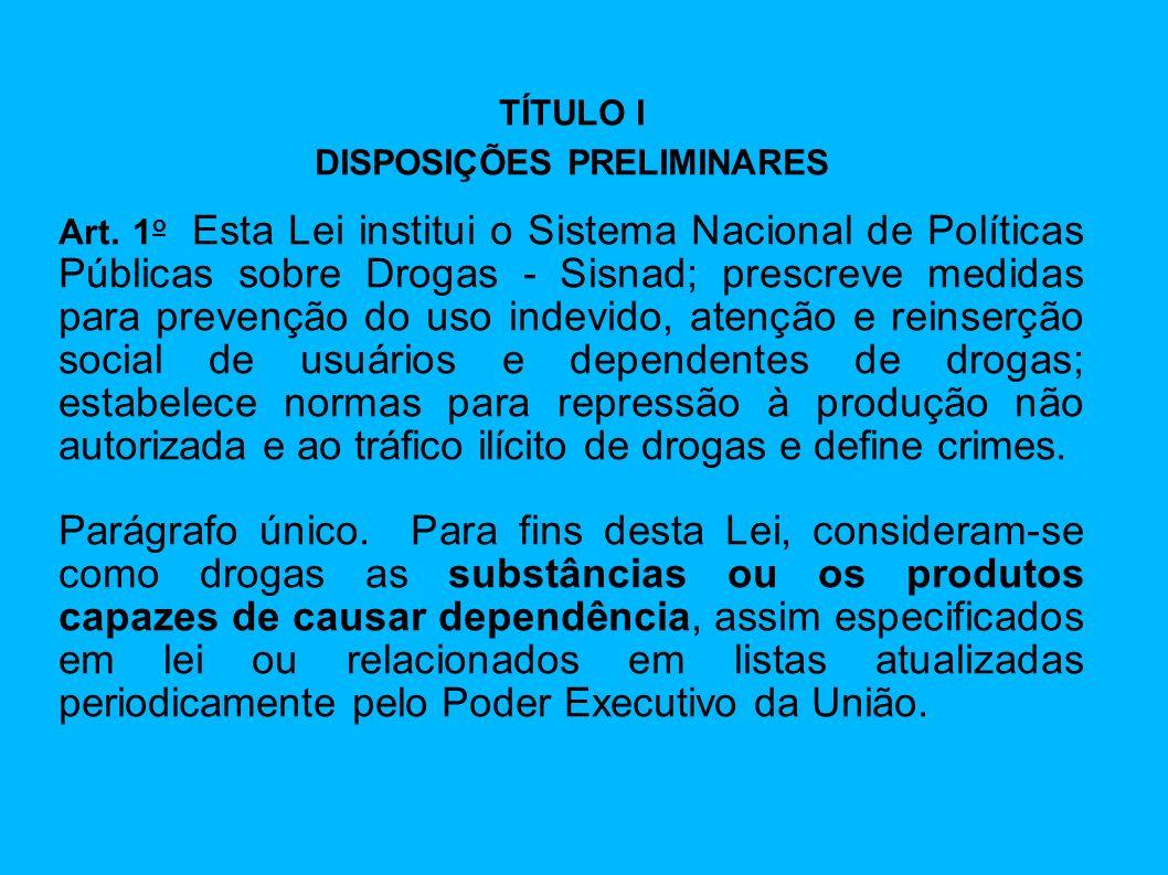 TÍTULO I DISPOSIÇÕES PRELIMINARES Art. 1 o Esta Lei institui o Sistema Nacional de Políticas Públicas sobre Drogas - Sisnad; prescreve medidas para pr