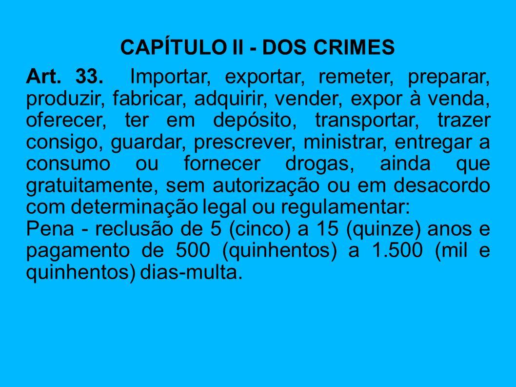 CAPÍTULO II - DOS CRIMES Art. 33. Importar, exportar, remeter, preparar, produzir, fabricar, adquirir, vender, expor à venda, oferecer, ter em depósit
