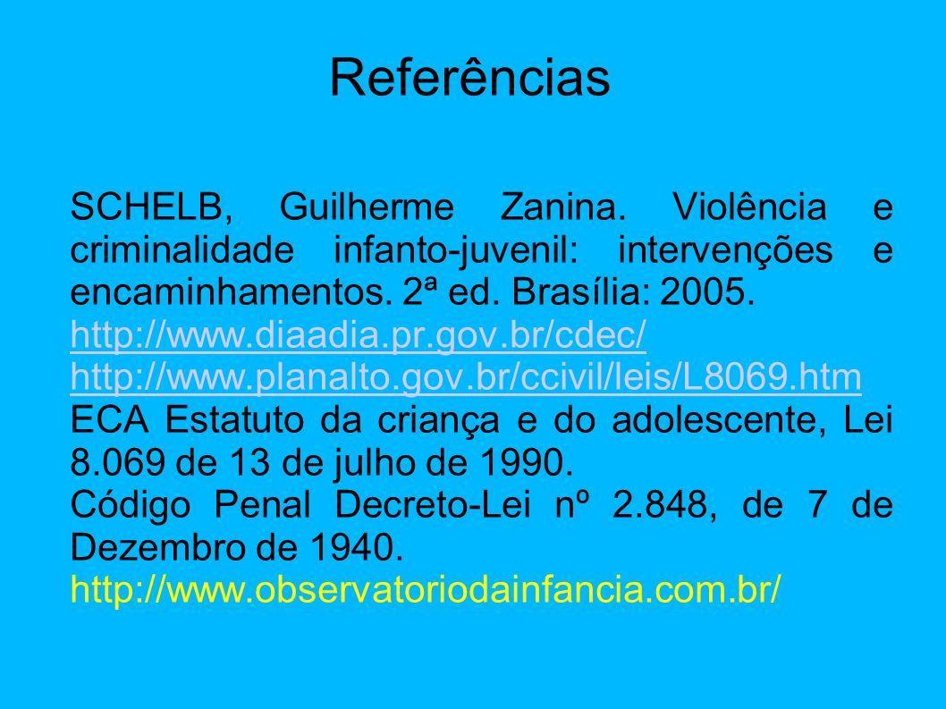 Referências SCHELB, Guilherme Zanina. Violência e criminalidade infanto-juvenil: intervenções e encaminhamentos. 2ª ed. Brasília: 2005. http://www.dia