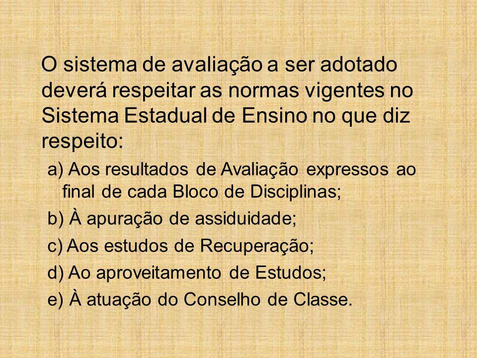 O sistema de avaliação a ser adotado deverá respeitar as normas vigentes no Sistema Estadual de Ensino no que diz respeito: a) Aos resultados de Avali