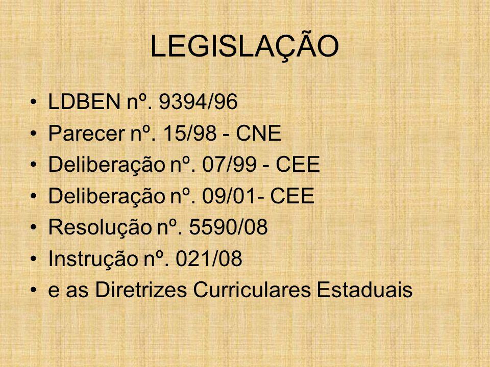 LEGISLAÇÃO LDBEN nº. 9394/96 Parecer nº. 15/98 - CNE Deliberação nº. 07/99 - CEE Deliberação nº. 09/01- CEE Resolução nº. 5590/08 Instrução nº. 021/08