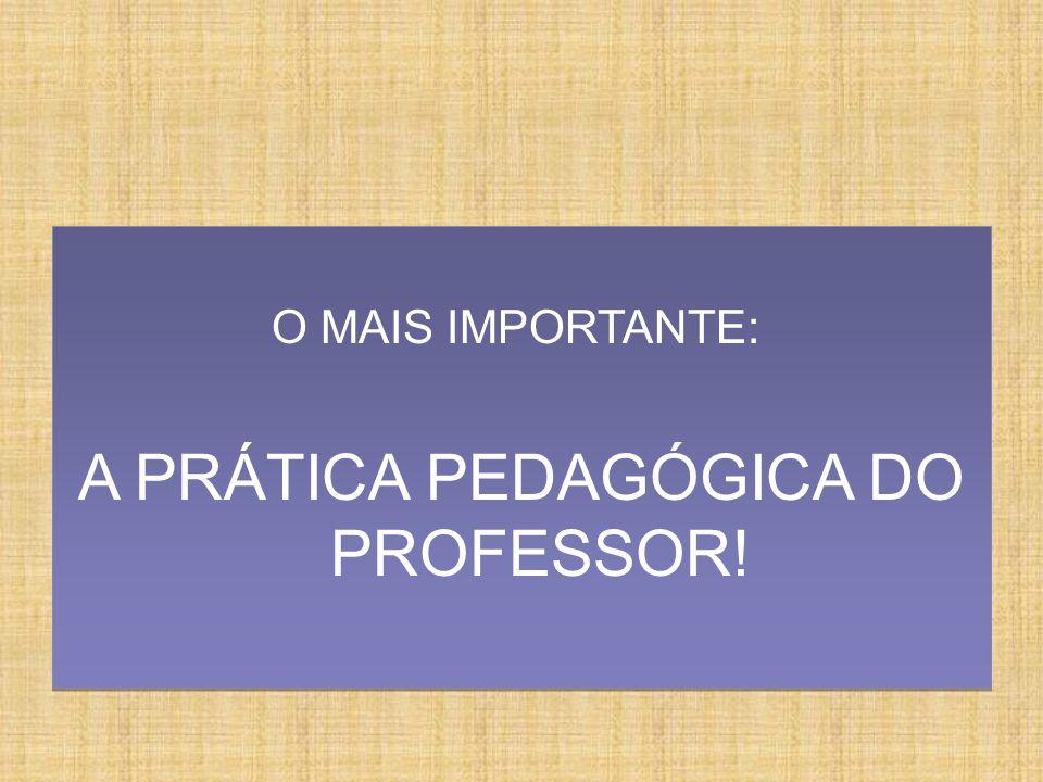 O MAIS IMPORTANTE: A PRÁTICA PEDAGÓGICA DO PROFESSOR! O MAIS IMPORTANTE: A PRÁTICA PEDAGÓGICA DO PROFESSOR!