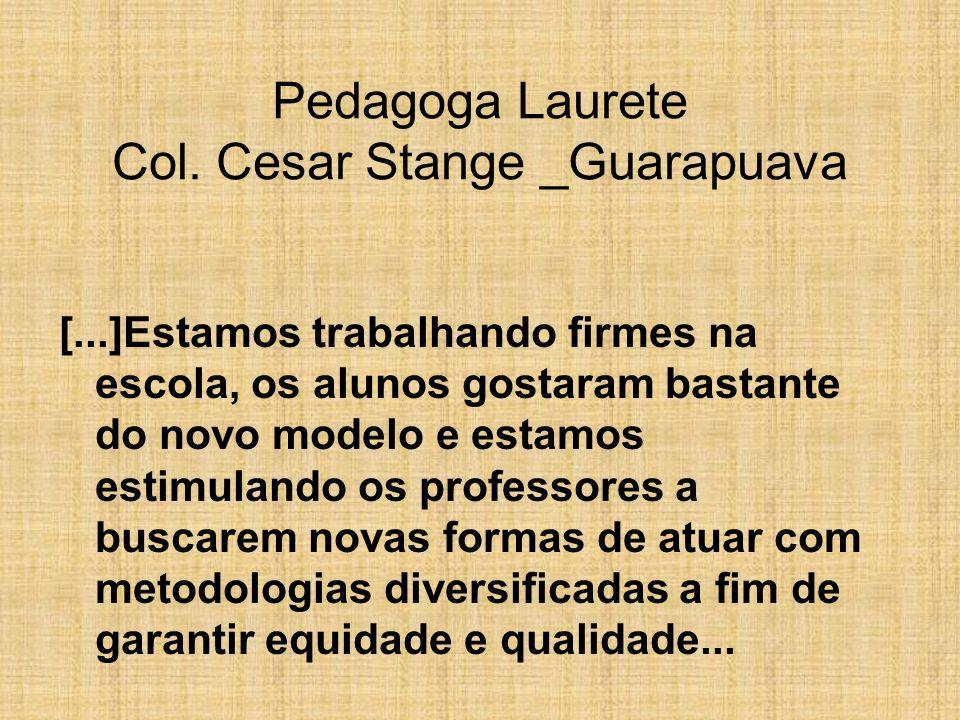 Pedagoga Laurete Col. Cesar Stange _Guarapuava [...]Estamos trabalhando firmes na escola, os alunos gostaram bastante do novo modelo e estamos estimul