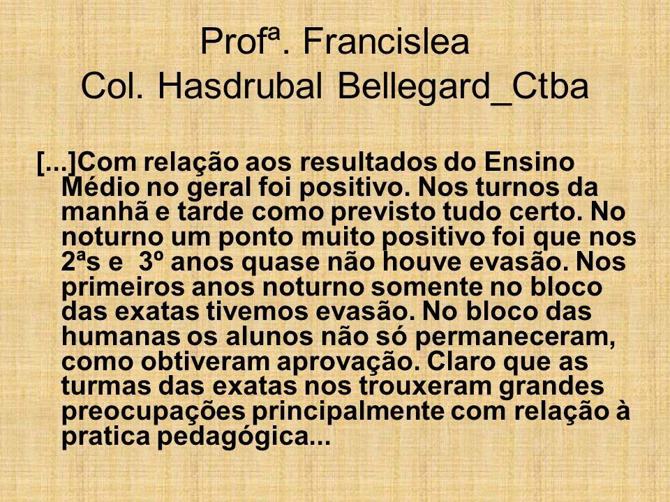 Profª. Francislea Col. Hasdrubal Bellegard_Ctba [...]Com relação aos resultados do Ensino Médio no geral foi positivo. Nos turnos da manhã e tarde com