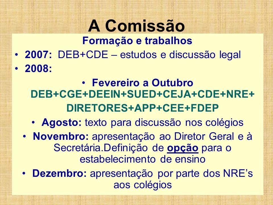 A Comissão Formação e trabalhos 2007: DEB+CDE – estudos e discussão legal 2008: Fevereiro a Outubro DEB+CGE+DEEIN+SUED+CEJA+CDE+NRE+ DIRETORES+APP+CEE