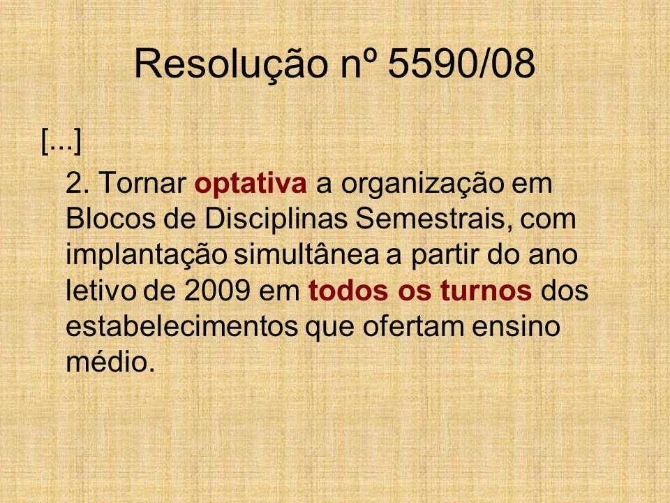 Resolução nº 5590/08 [...] 2. Tornar optativa a organização em Blocos de Disciplinas Semestrais, com implantação simultânea a partir do ano letivo de