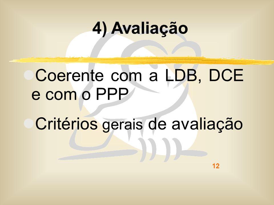 12 4) Avaliação Coerente com a LDB, DCE e com o PPP Critérios gerais de avaliação