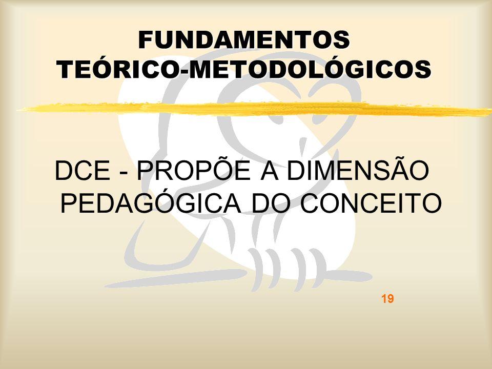 19 FUNDAMENTOS TEÓRICO-METODOLÓGICOS DCE - PROPÕE A DIMENSÃO PEDAGÓGICA DO CONCEITO