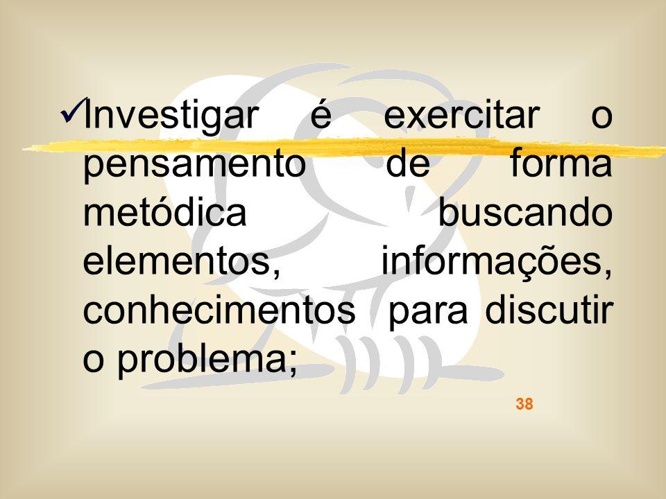 38 Investigar é exercitar o pensamento de forma metódica buscando elementos, informações, conhecimentos para discutir o problema;