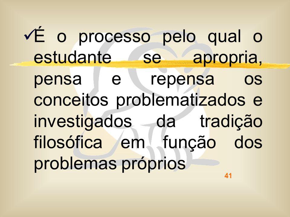 41 É o processo pelo qual o estudante se apropria, pensa e repensa os conceitos problematizados e investigados da tradição filosófica em função dos pr