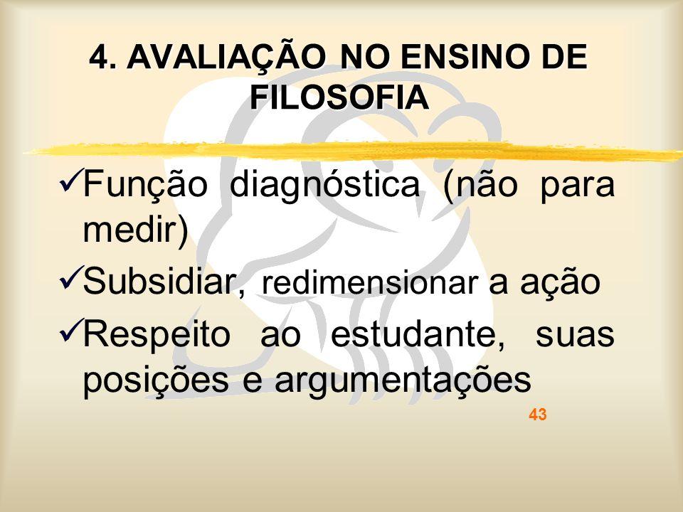 43 4. AVALIAÇÃO NO ENSINO DE FILOSOFIA Função diagnóstica (não para medir) Subsidiar, redimensionar a ação Respeito ao estudante, suas posições e argu