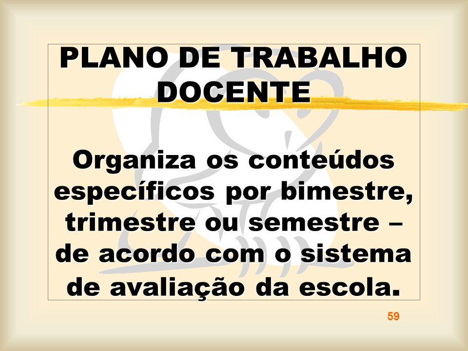 PLANO DE TRABALHO DOCENTE Organiza os conteúdos específicos por bimestre, trimestre ou semestre – de acordo com o sistema de avaliação da escola. 59