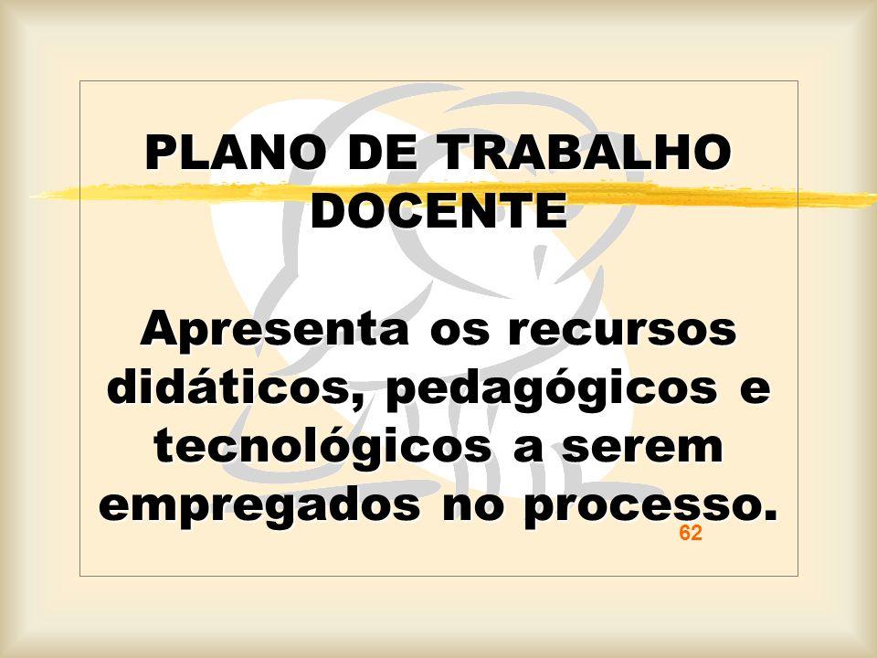 PLANO DE TRABALHO DOCENTE Apresenta os recursos didáticos, pedagógicos e tecnológicos a serem empregados no processo. 62