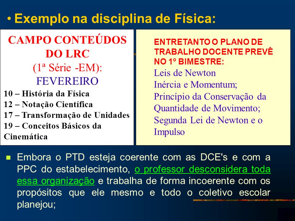 Exemplo na disciplina de Física: Embora o PTD esteja coerente com as DCE's e com a PPC do estabelecimento, o professor desconsidera toda essa organiza