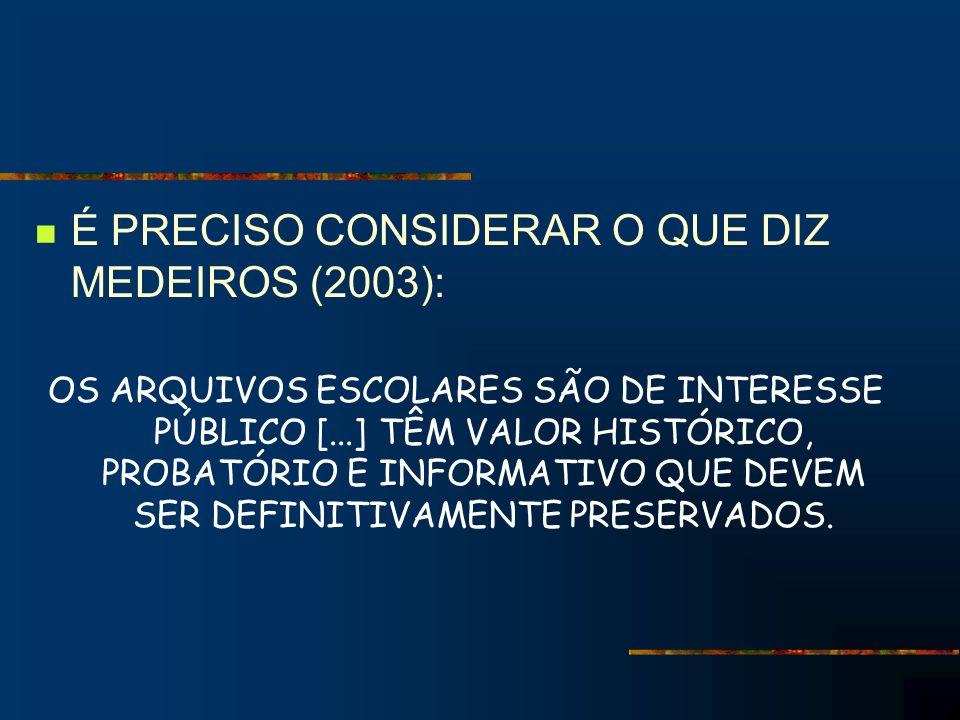 É PRECISO CONSIDERAR O QUE DIZ MEDEIROS (2003): OS ARQUIVOS ESCOLARES SÃO DE INTERESSE PÚBLICO [...] TÊM VALOR HISTÓRICO, PROBATÓRIO E INFORMATIVO QUE DEVEM SER DEFINITIVAMENTE PRESERVADOS.
