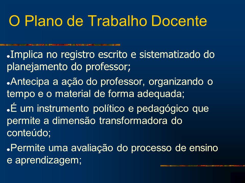 O Plano de Trabalho Docente Implica no registro escrito e sistematizado do planejamento do professor; Antecipa a ação do professor, organizando o temp