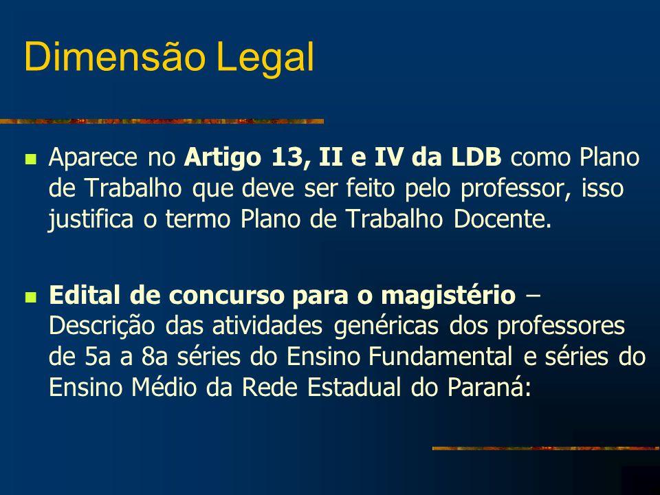 Dimensão Legal Aparece no Artigo 13, II e IV da LDB como Plano de Trabalho que deve ser feito pelo professor, isso justifica o termo Plano de Trabalho Docente.