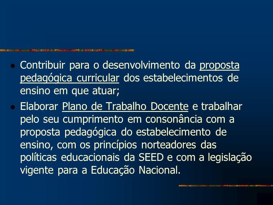 Contribuir para o desenvolvimento da proposta pedagógica curricular dos estabelecimentos de ensino em que atuar; Elaborar Plano de Trabalho Docente e