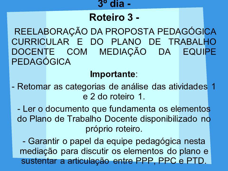 3º dia - Roteiro 3 - REELABORAÇÃO DA PROPOSTA PEDAGÓGICA CURRICULAR E DO PLANO DE TRABALHO DOCENTE COM MEDIAÇÃO DA EQUIPE PEDAGÓGICA Importante: - Ret