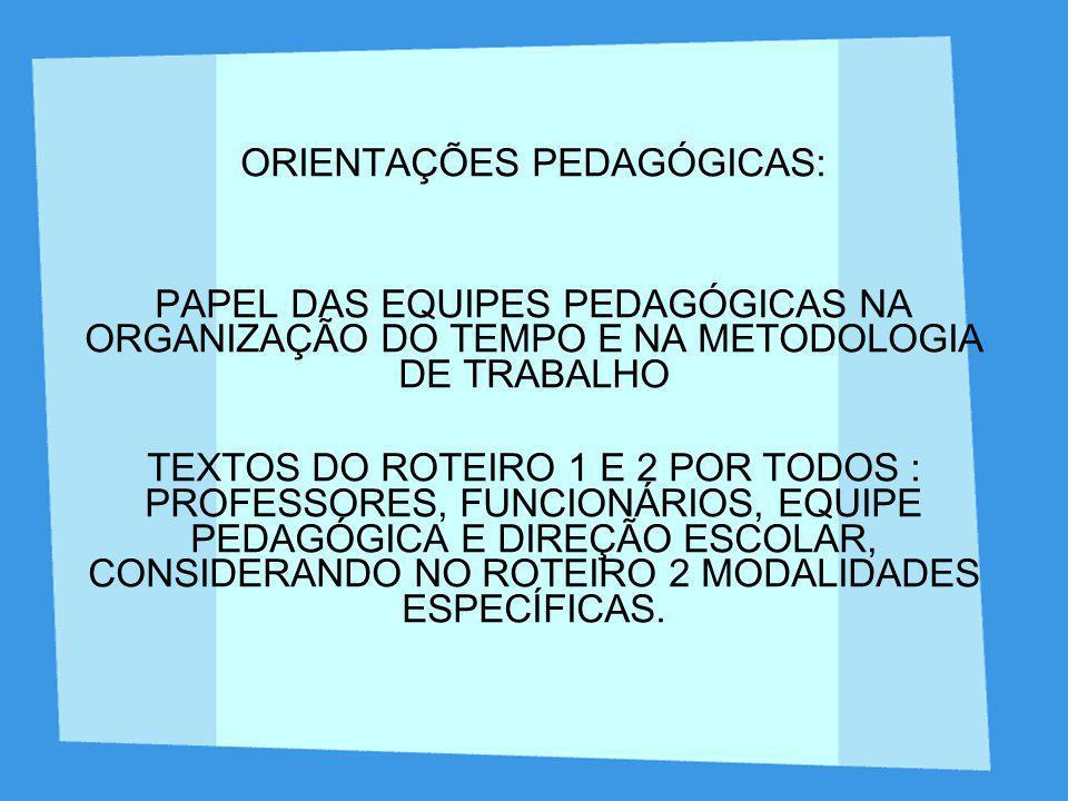 ORIENTAÇÕES PEDAGÓGICAS: PAPEL DAS EQUIPES PEDAGÓGICAS NA ORGANIZAÇÃO DO TEMPO E NA METODOLOGIA DE TRABALHO TEXTOS DO ROTEIRO 1 E 2 POR TODOS : PROFES