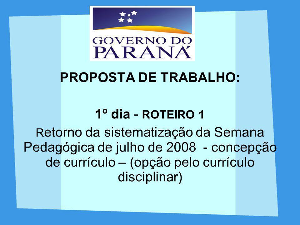 PROPOSTA DE TRABALHO: 1º dia - ROTEIRO 1 R etorno da sistematização da Semana Pedagógica de julho de 2008 - concepção de currículo – (opção pelo currí