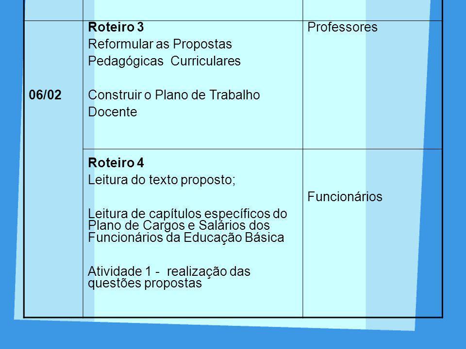 DI A ROTEIROPARTICIP ANTES 04/ 02 Roteiro 1 Leitura e discussão dos Textos 1 e 2;Atividades: leitura e discussão dos exemplos 1 e 2, realização das at
