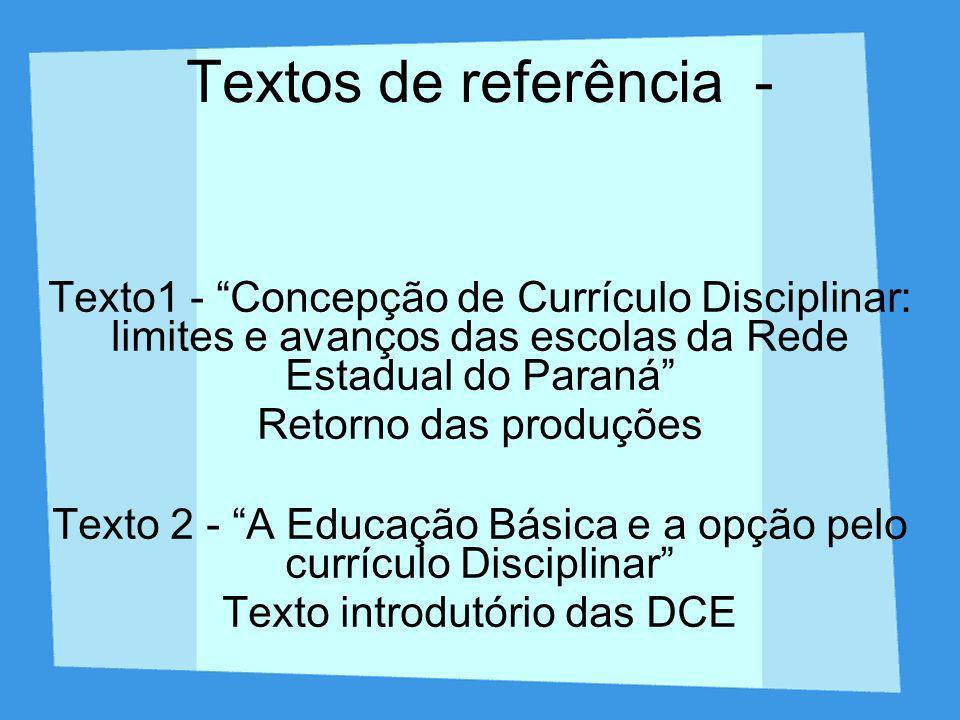Textos de referência - Texto1 - Concepção de Currículo Disciplinar: limites e avanços das escolas da Rede Estadual do Paraná Retorno das produções Tex