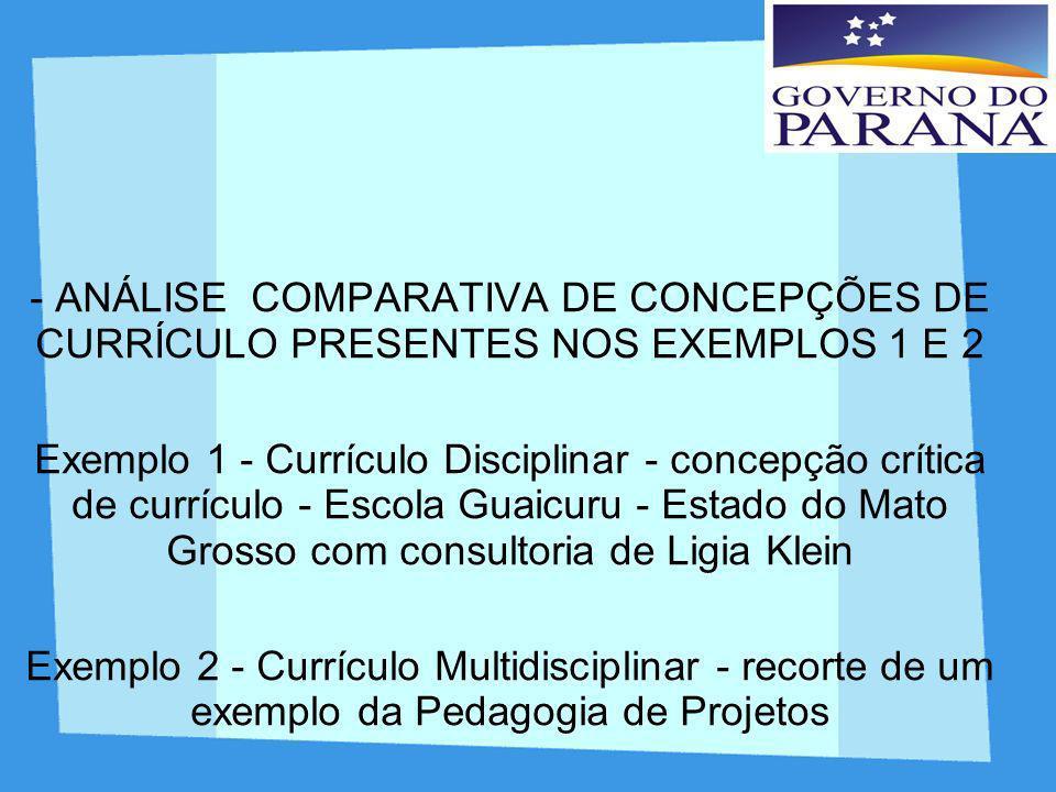 - ANÁLISE COMPARATIVA DE CONCEPÇÕES DE CURRÍCULO PRESENTES NOS EXEMPLOS 1 E 2 Exemplo 1 - Currículo Disciplinar - concepção crítica de currículo - Esc