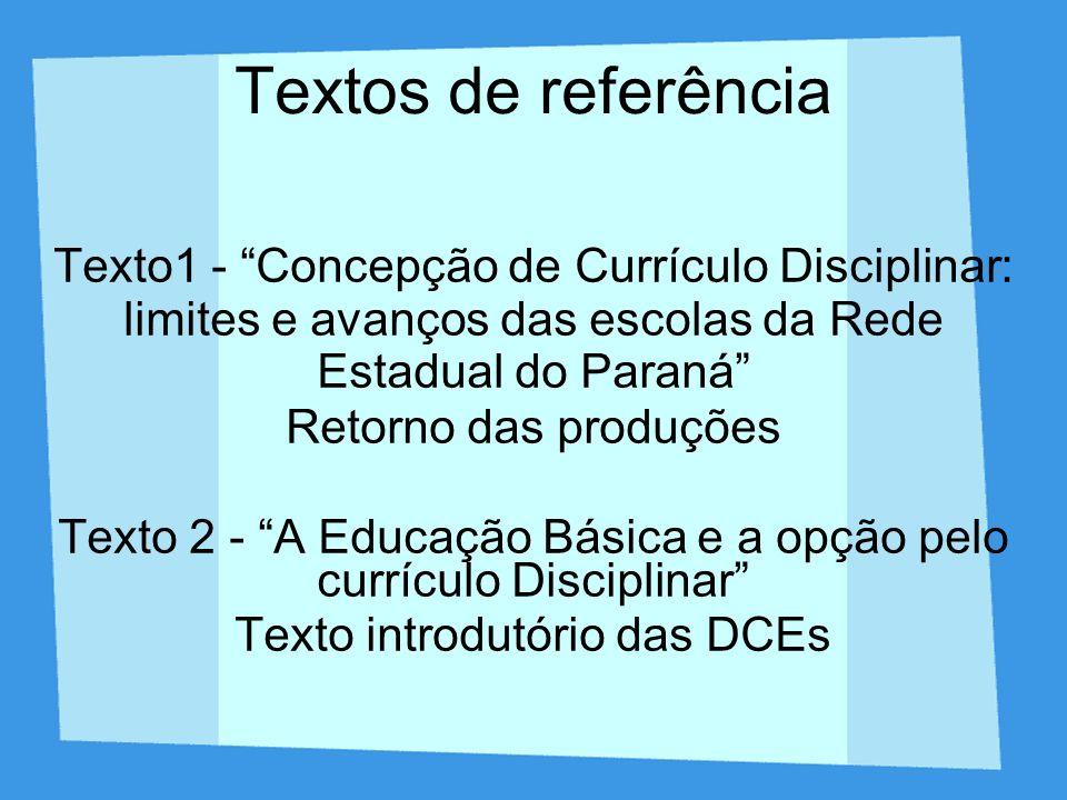 Textos de referência Texto1 - Concepção de Currículo Disciplinar: limites e avanços das escolas da Rede Estadual do Paraná Retorno das produções Texto