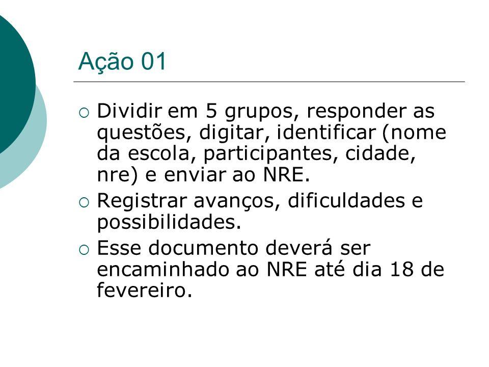 Ação 01 Dividir em 5 grupos, responder as questões, digitar, identificar (nome da escola, participantes, cidade, nre) e enviar ao NRE. Registrar avanç