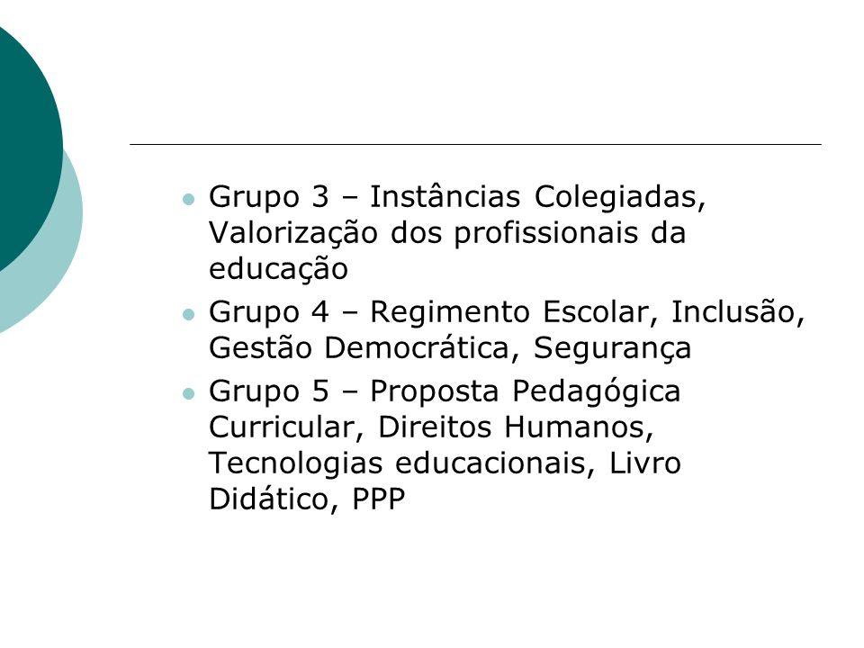 Grupo 3 – Instâncias Colegiadas, Valorização dos profissionais da educação Grupo 4 – Regimento Escolar, Inclusão, Gestão Democrática, Segurança Grupo