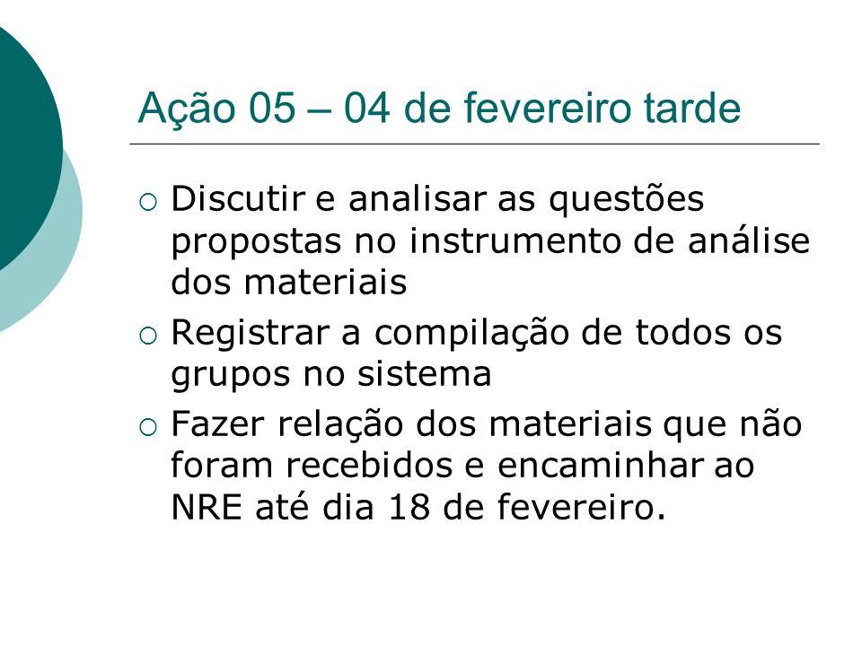 Ação 05 – 04 de fevereiro tarde Discutir e analisar as questões propostas no instrumento de análise dos materiais Registrar a compilação de todos os g