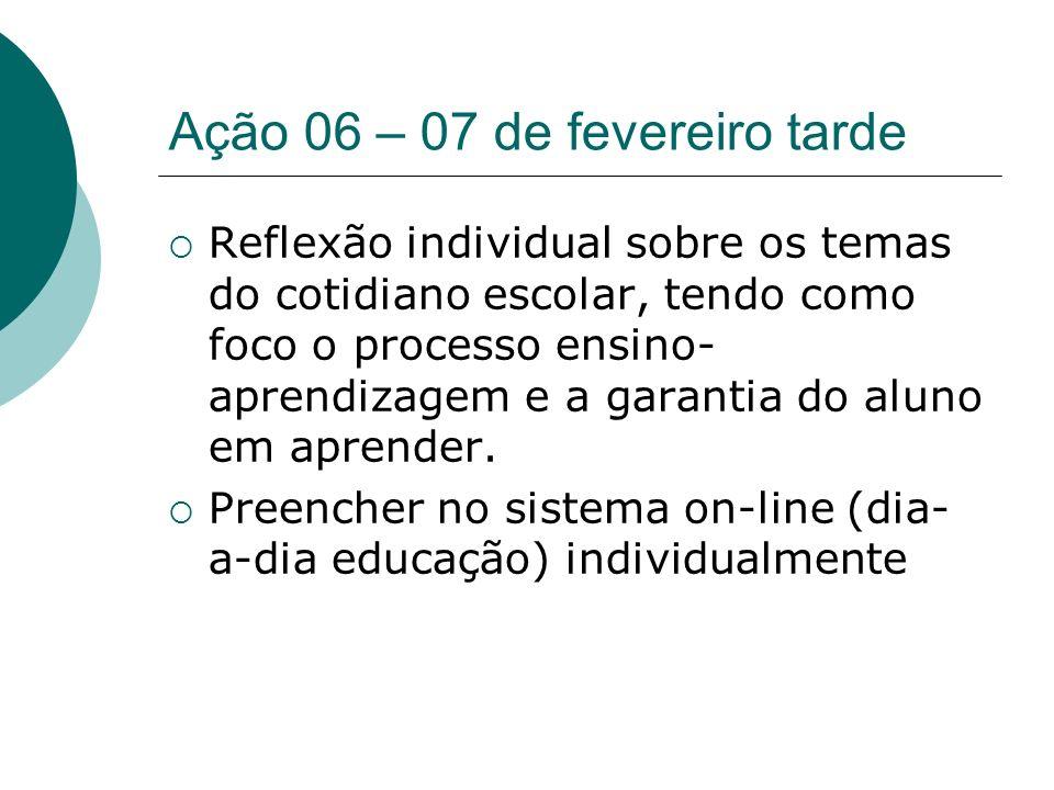 Ação 06 – 07 de fevereiro tarde Reflexão individual sobre os temas do cotidiano escolar, tendo como foco o processo ensino- aprendizagem e a garantia