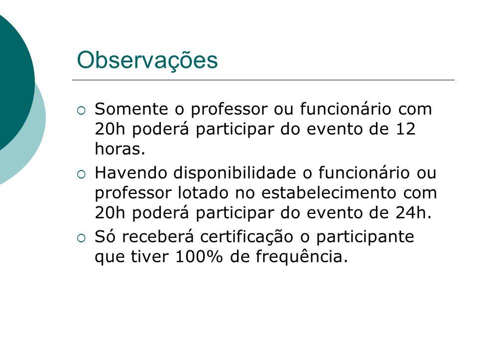 Observações Somente o professor ou funcionário com 20h poderá participar do evento de 12 horas. Havendo disponibilidade o funcionário ou professor lot