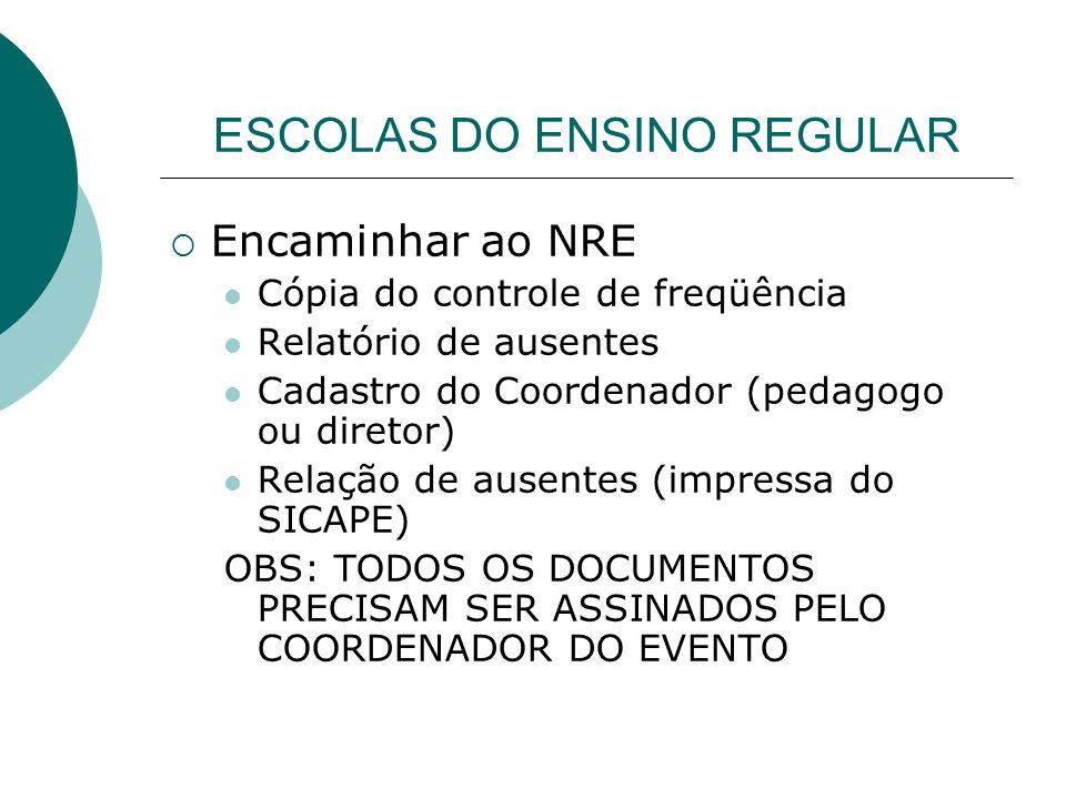 ESCOLAS DO ENSINO REGULAR Encaminhar ao NRE Cópia do controle de freqüência Relatório de ausentes Cadastro do Coordenador (pedagogo ou diretor) Relaçã