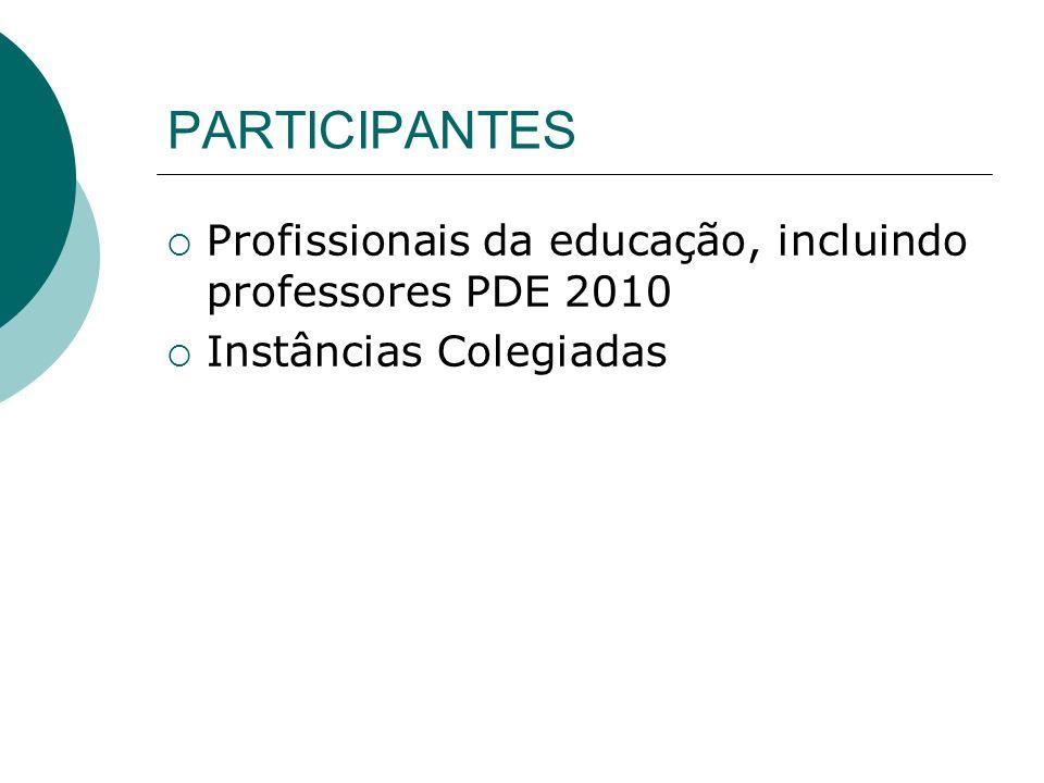 PARTICIPANTES Profissionais da educação, incluindo professores PDE 2010 Instâncias Colegiadas