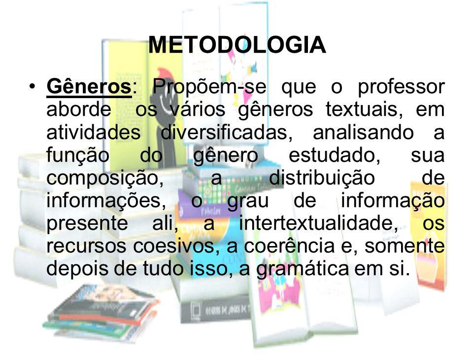 METODOLOGIA Gêneros: Propõem-se que o professor aborde os vários gêneros textuais, em atividades diversificadas, analisando a função do gênero estudad