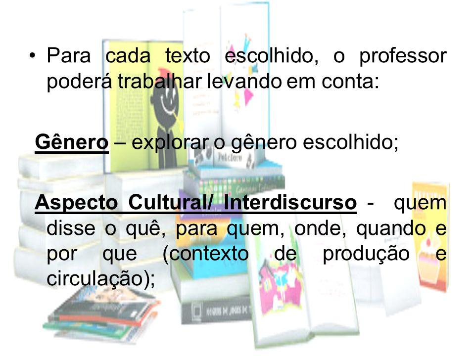 Para cada texto escolhido, o professor poderá trabalhar levando em conta: Gênero – explorar o gênero escolhido; Aspecto Cultural/ Interdiscurso - quem