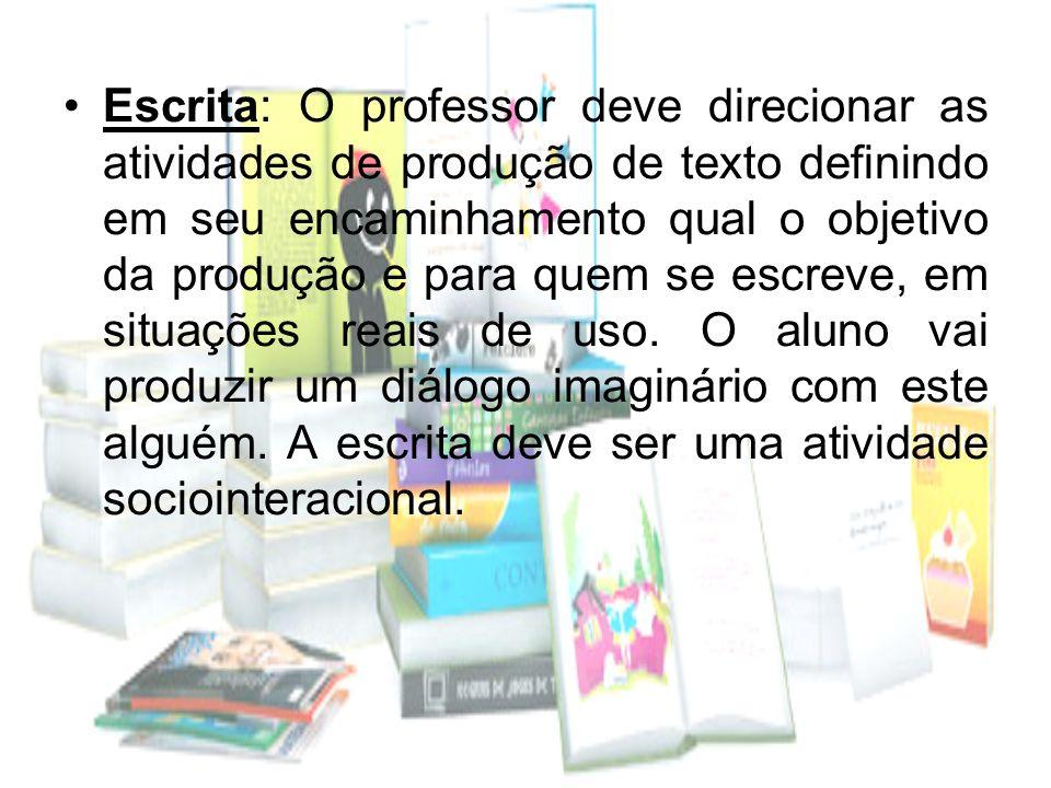 Escrita: O professor deve direcionar as atividades de produção de texto definindo em seu encaminhamento qual o objetivo da produção e para quem se esc