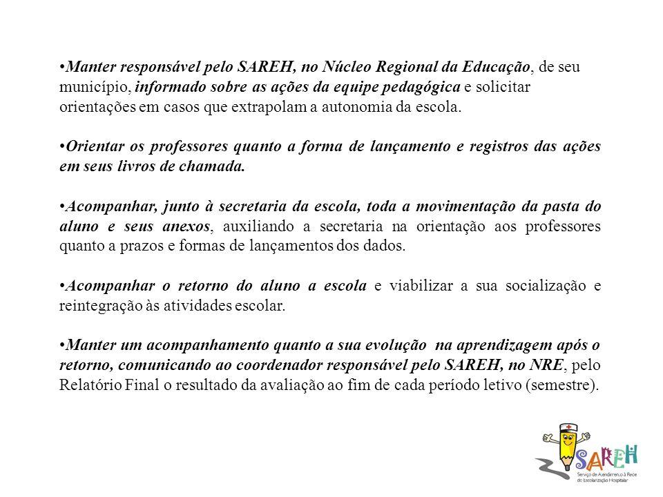 Manter responsável pelo SAREH, no Núcleo Regional da Educação, de seu município, informado sobre as ações da equipe pedagógica e solicitar orientações em casos que extrapolam a autonomia da escola.