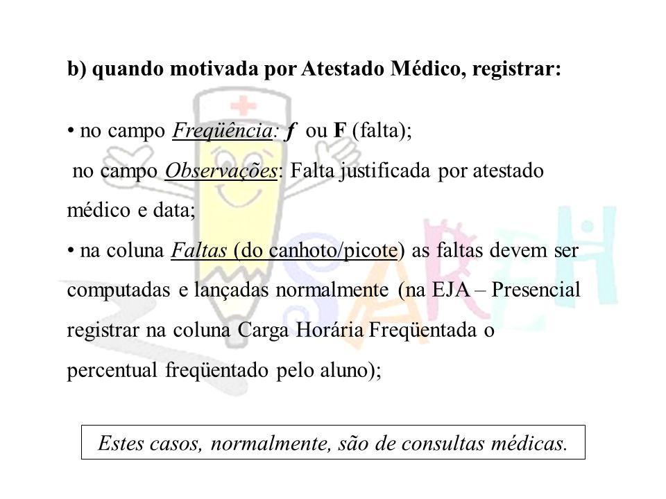b) quando motivada por Atestado Médico, registrar: no campo Freqüência: f ou F (falta); no campo Observações: Falta justificada por atestado médico e data; na coluna Faltas (do canhoto/picote) as faltas devem ser computadas e lançadas normalmente (na EJA – Presencial registrar na coluna Carga Horária Freqüentada o percentual freqüentado pelo aluno); Estes casos, normalmente, são de consultas médicas.