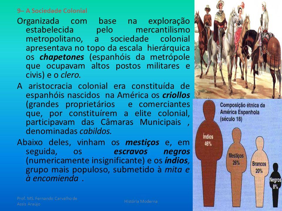 9– A Sociedade Colonial Organizada com base na exploração estabelecida pelo mercantilismo metropolitano, a sociedade colonial apresentava no topo da e