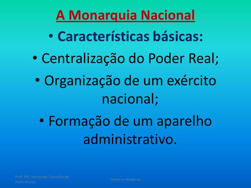 A Monarquia Nacional Características básicas: Centralização do Poder Real; Organização de um exército nacional; Formação de um aparelho administrativo