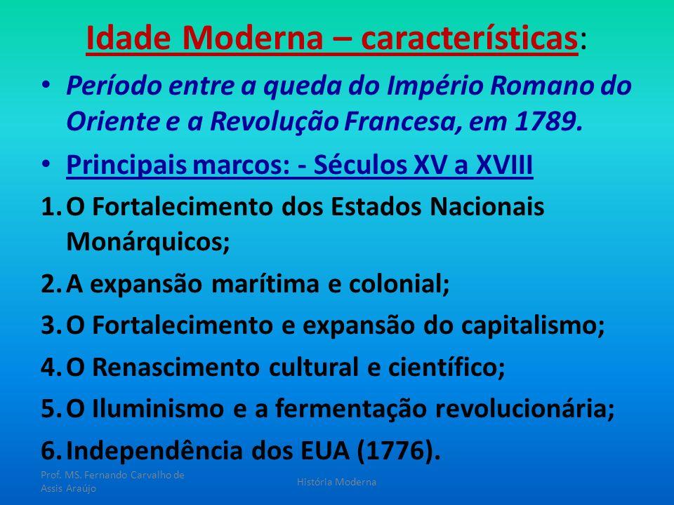 Idade Moderna – características: Período entre a queda do Império Romano do Oriente e a Revolução Francesa, em 1789. Principais marcos: - Séculos XV a