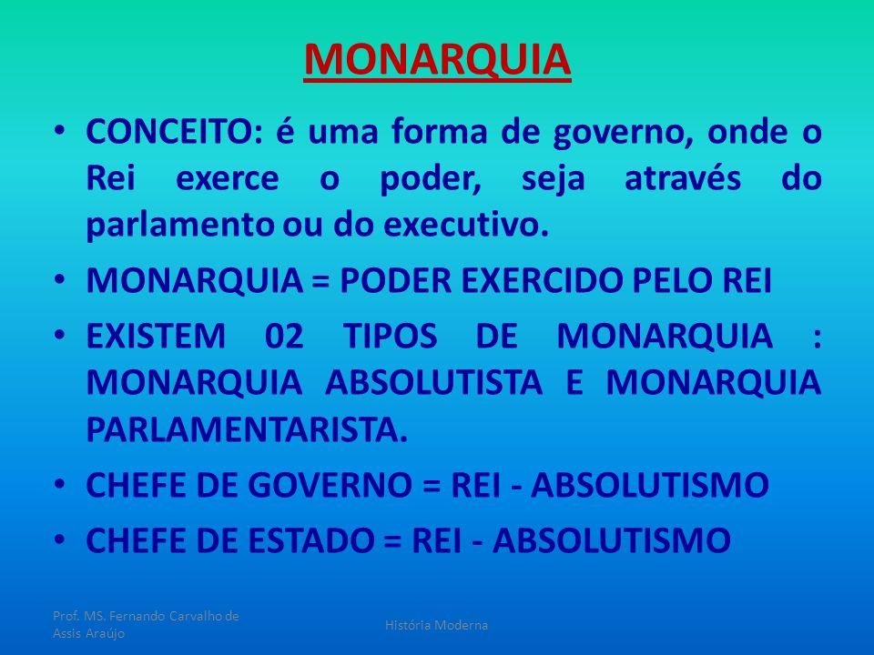 MONARQUIA CONCEITO: é uma forma de governo, onde o Rei exerce o poder, seja através do parlamento ou do executivo. MONARQUIA = PODER EXERCIDO PELO REI